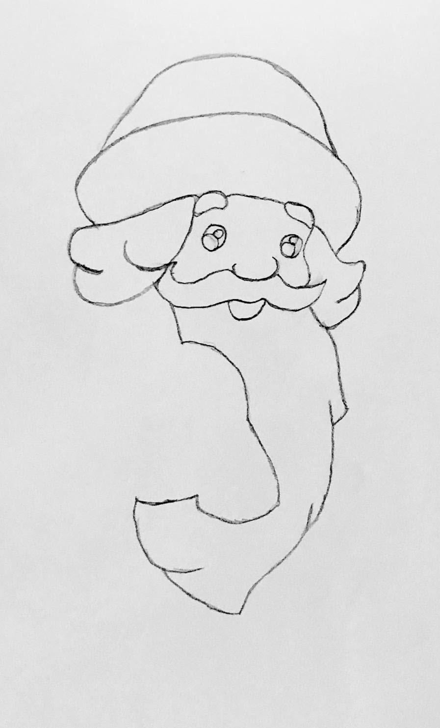 шапка деда мороза раскраска
