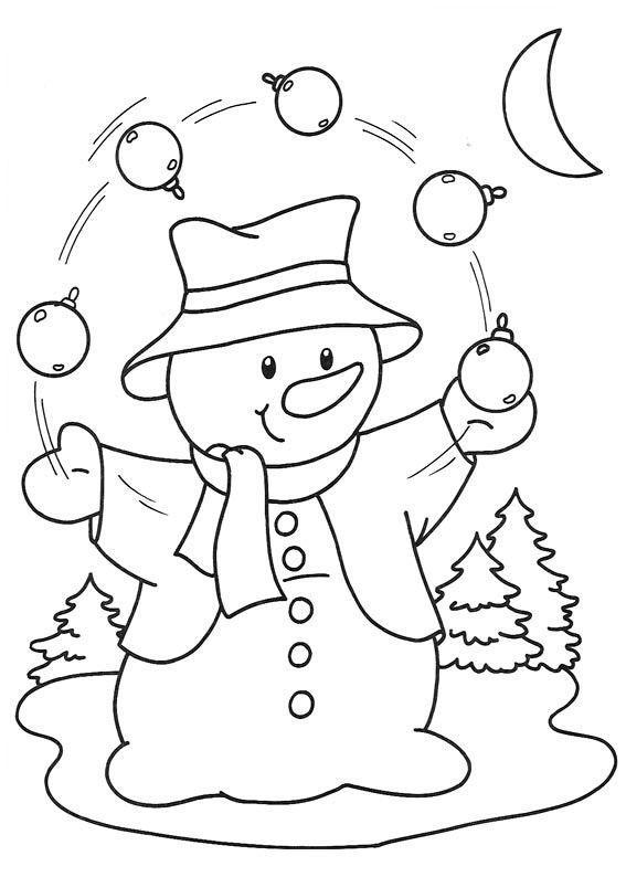 скачать раскраску снеговик