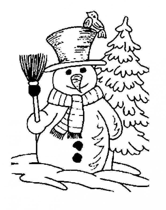 снеговик и елка раскраска