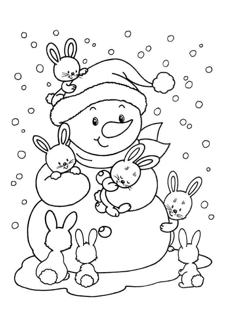 снеговик картинка раскраска