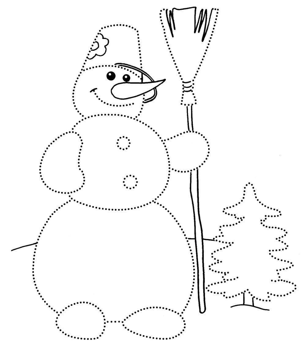 снеговик раскраска для детей 2 лет