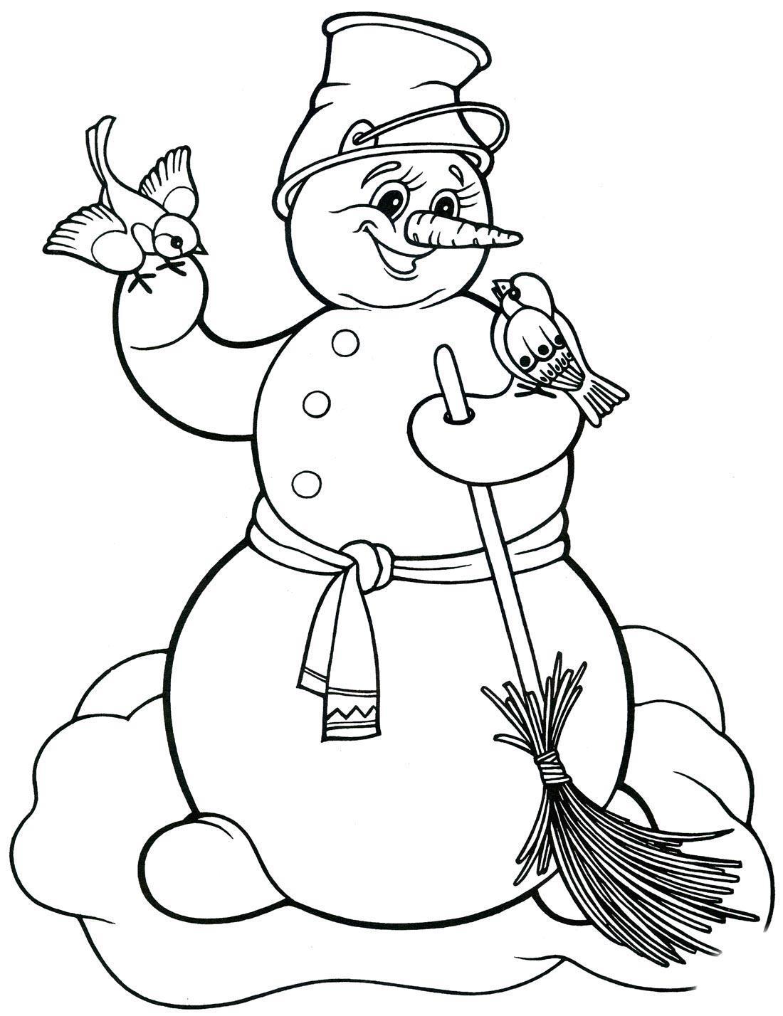 снеговик раскраска для детей 5 лет