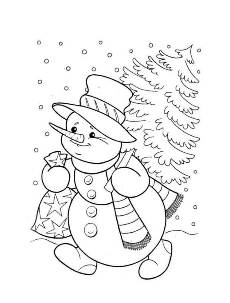 снеговик раскраска для детей распечатать