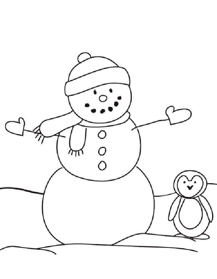 снеговик раскраски для детей 3 4 лет