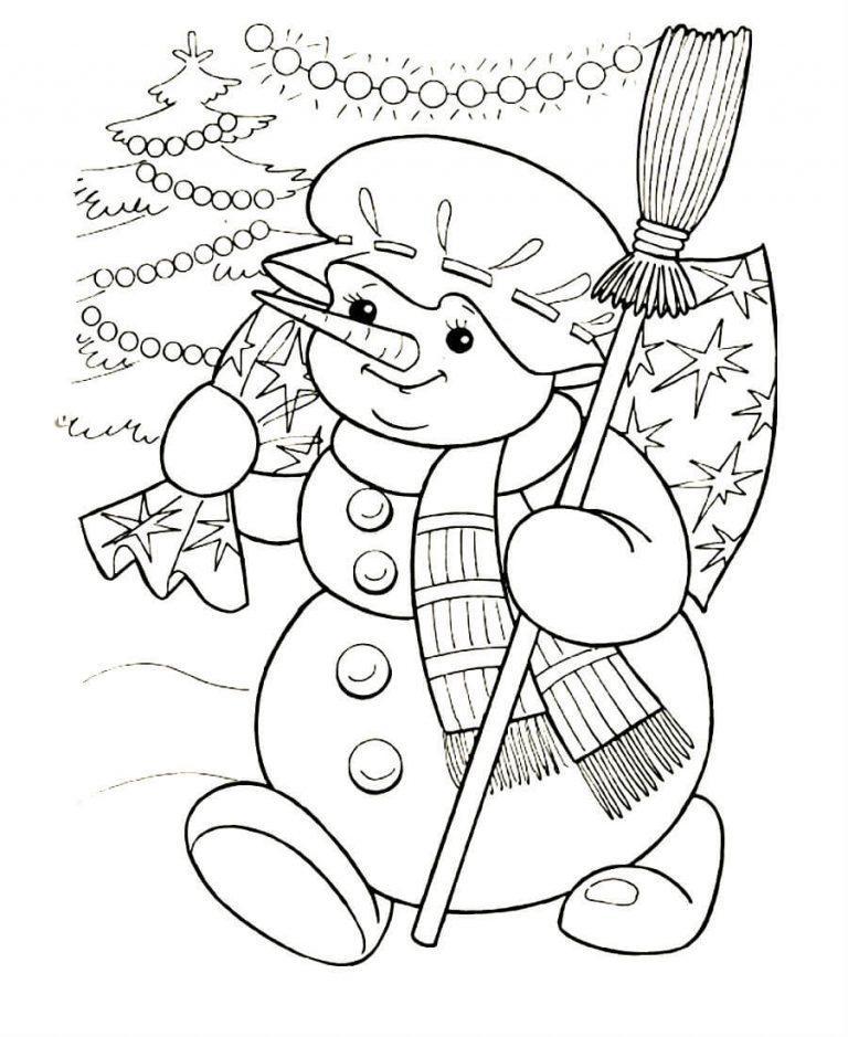 Картинка раскраска снеговик с метлой