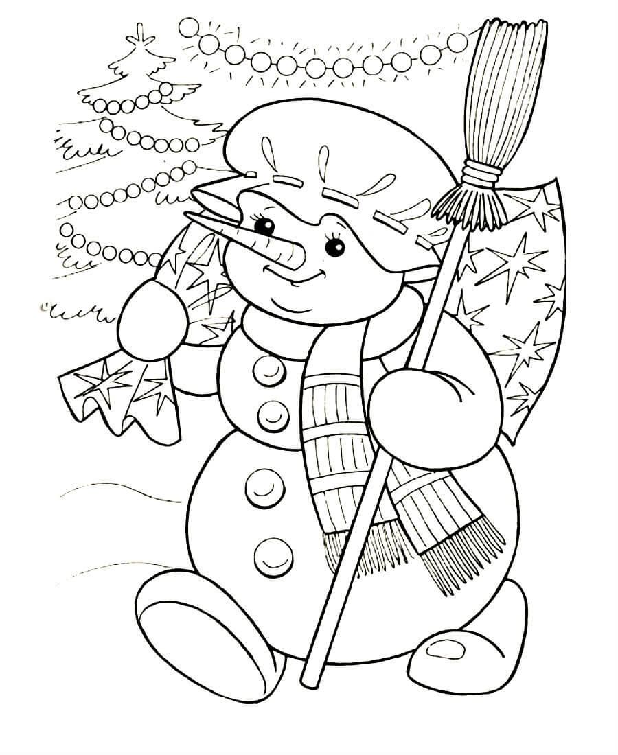 снеговик рисунок раскраска