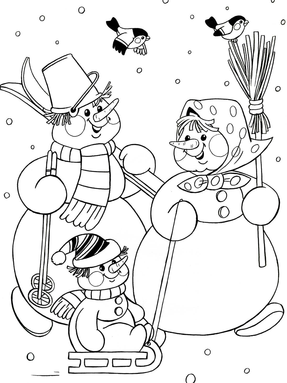 снеговик раскраски на новый год