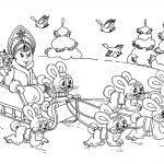 Снегурочка в лесу с зайцами