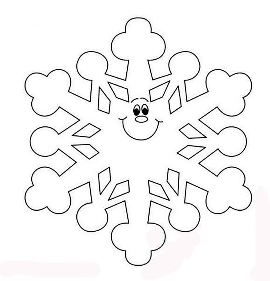 снежинка раскраска для малышей