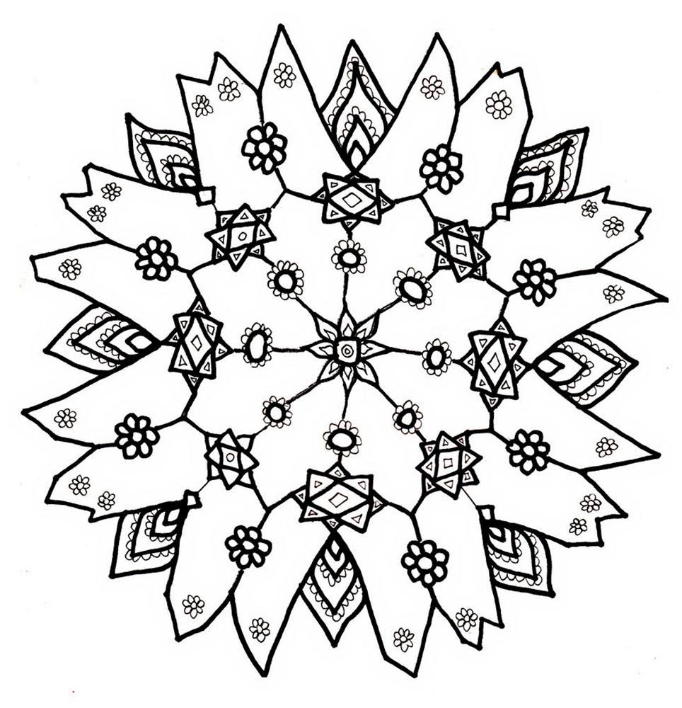 снежинки раскраска распечатать красивые