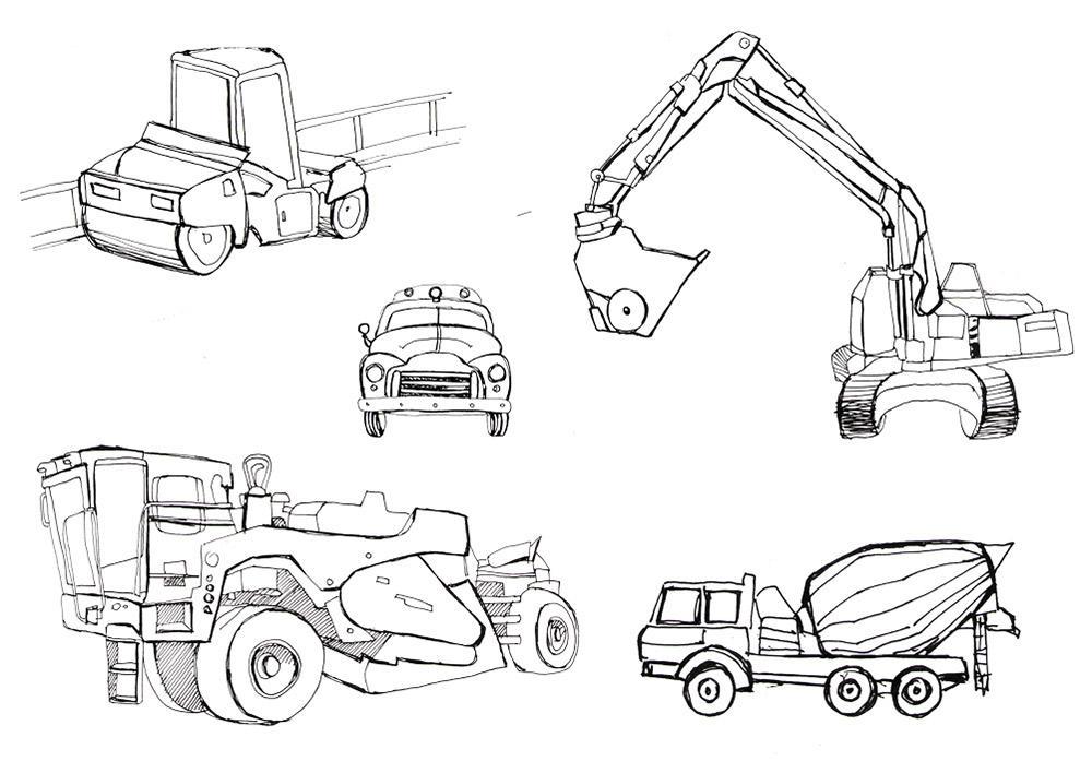 раскраска строительные машины
