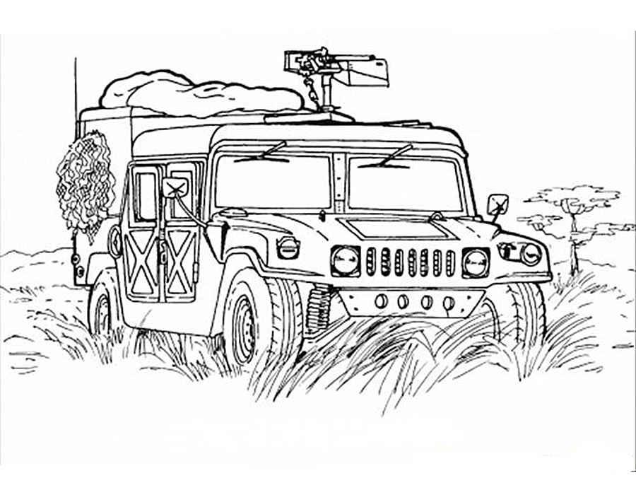 раскраска военные машины