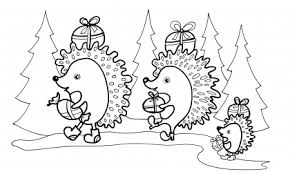 раскраска 2 ежика идут на новый год