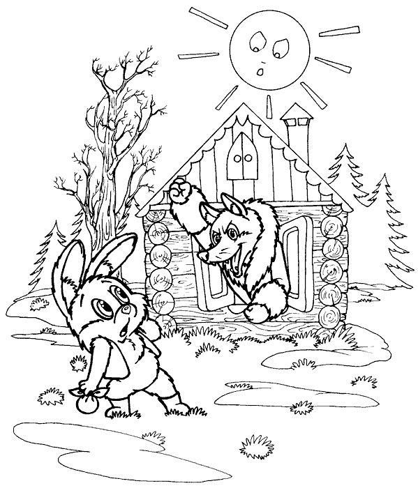 раскраска лиса и заяц