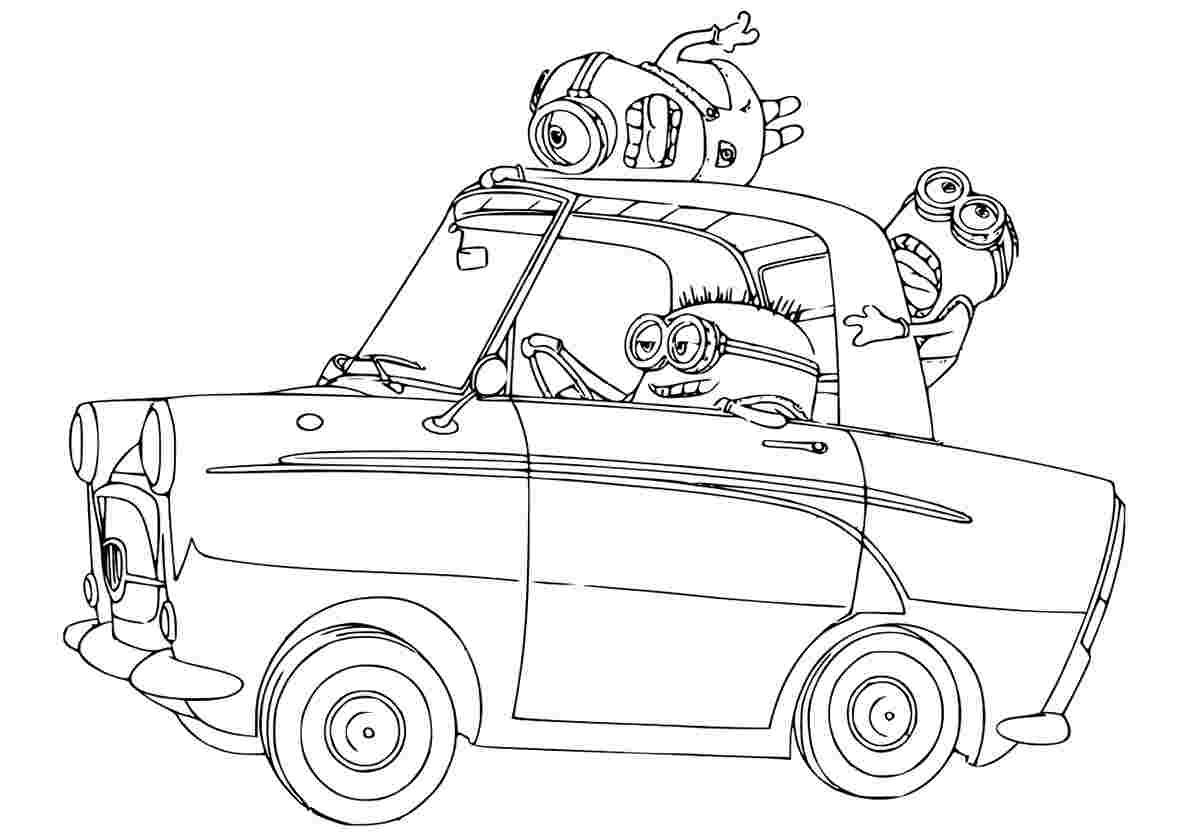раскраска миньоны едут на машине