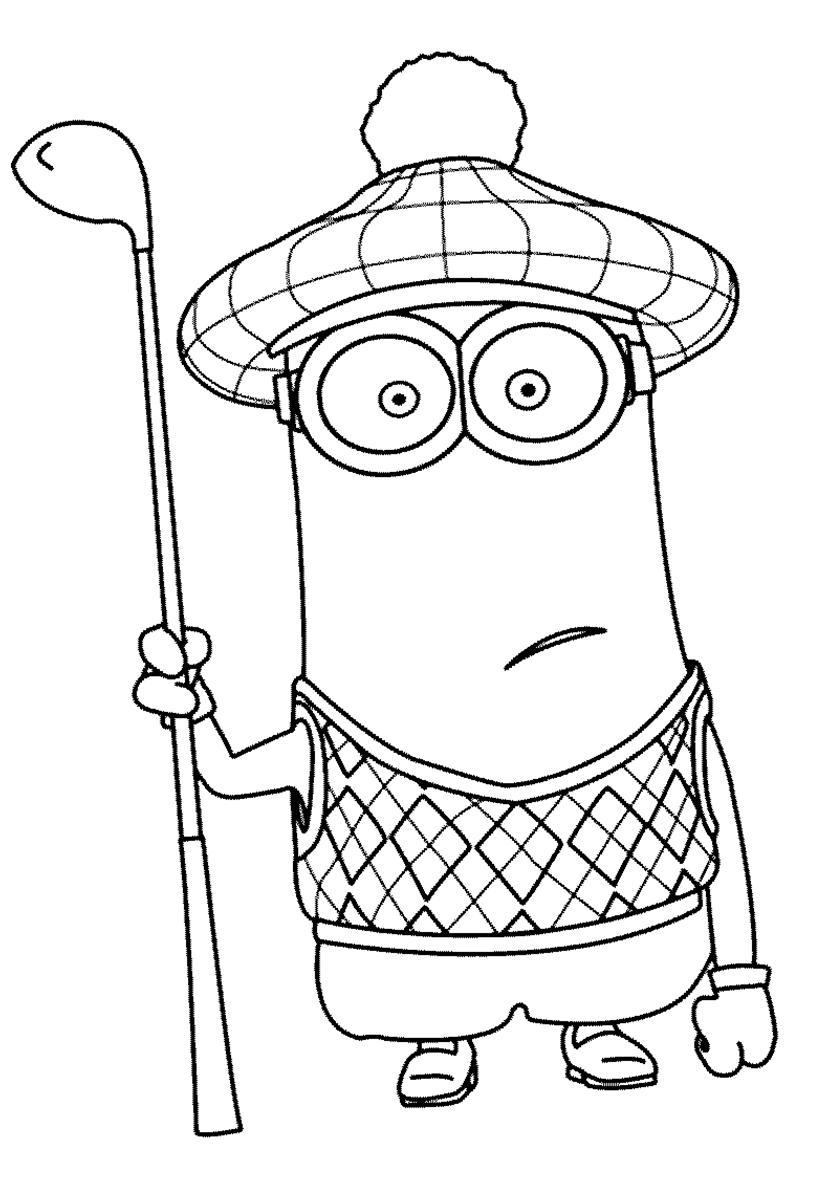 раскраска миньоны кевин играет в гольф