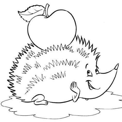 раскраска ежик несет яблоко домой