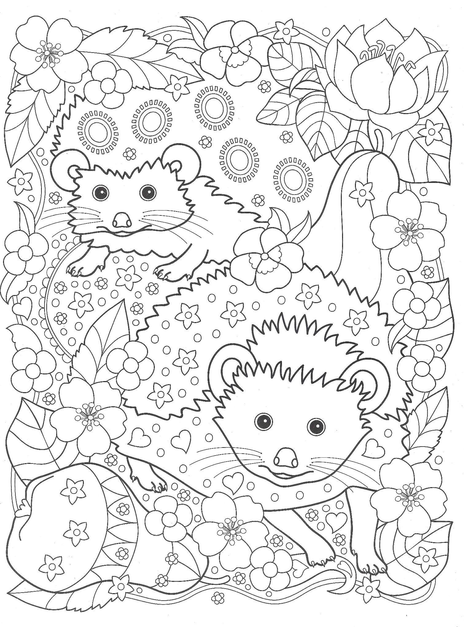 раскраска ежики в лесу нашли груши