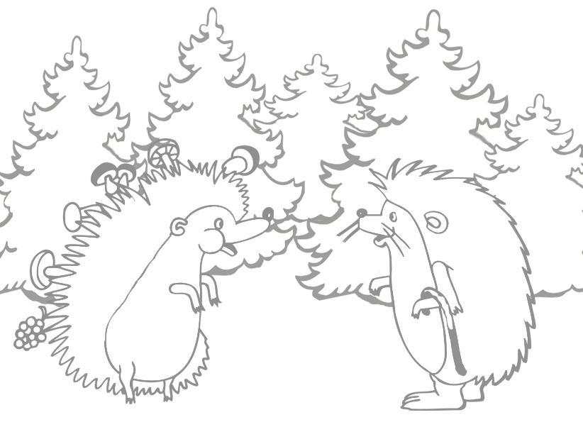 раскраска ежики встретились в лесу