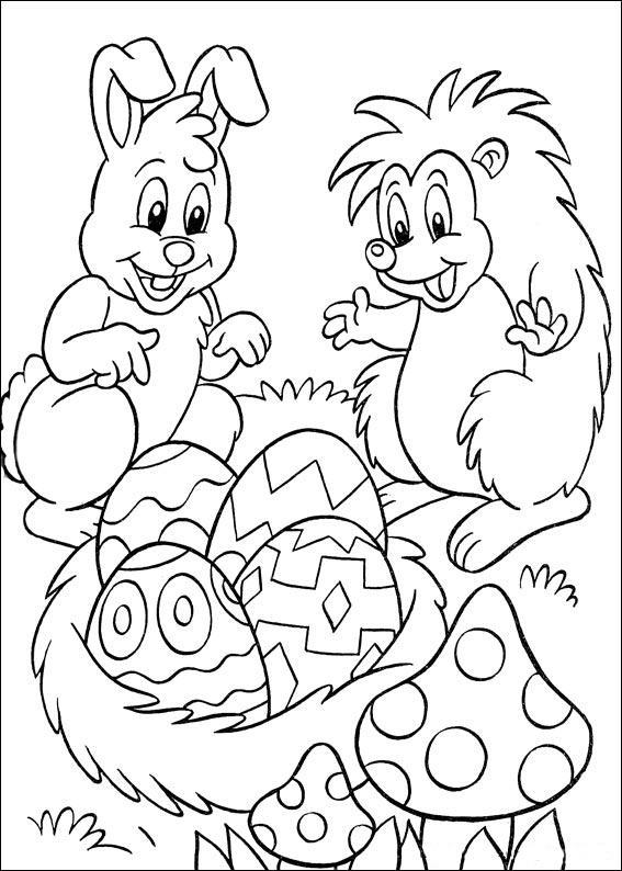 раскраска заяц и ежик нашли яйца