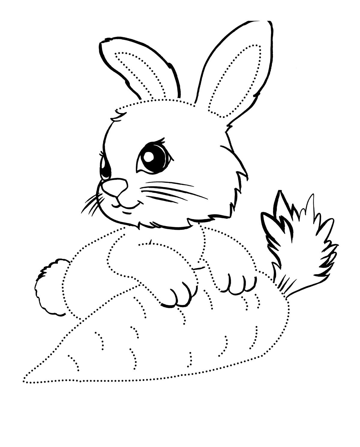 раскраска заяц с морковкой для детей
