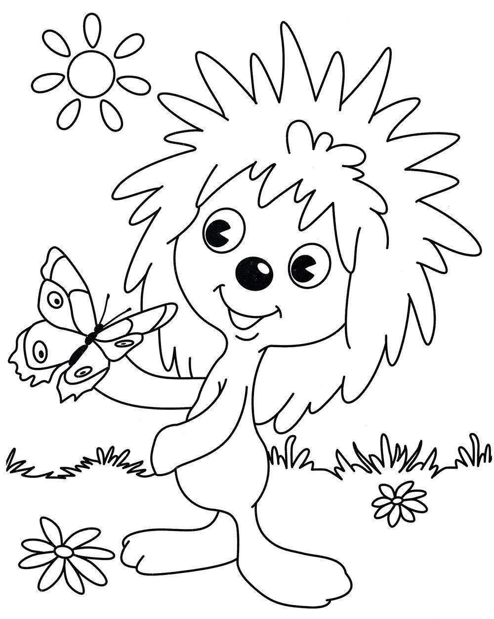 ежик и медвежонок раскраска с бабочкой