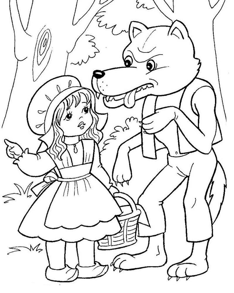 картинка раскраска красная шапочка для детей