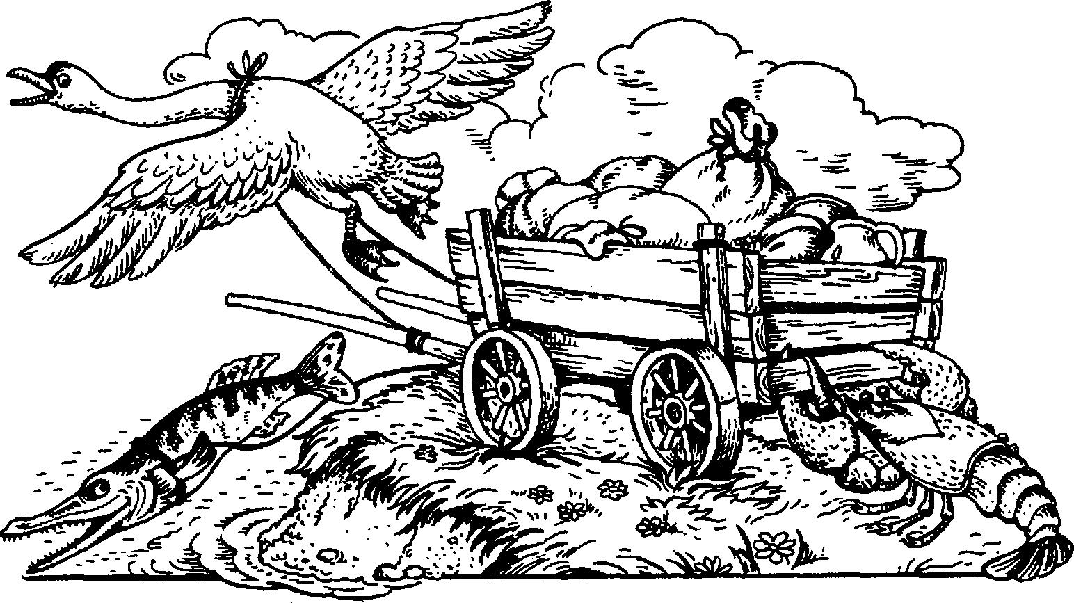 Раскраска лебедь рак и щука распечатать бесплатно