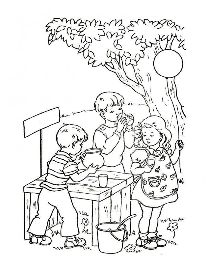 раскраска дети играют на улице летом