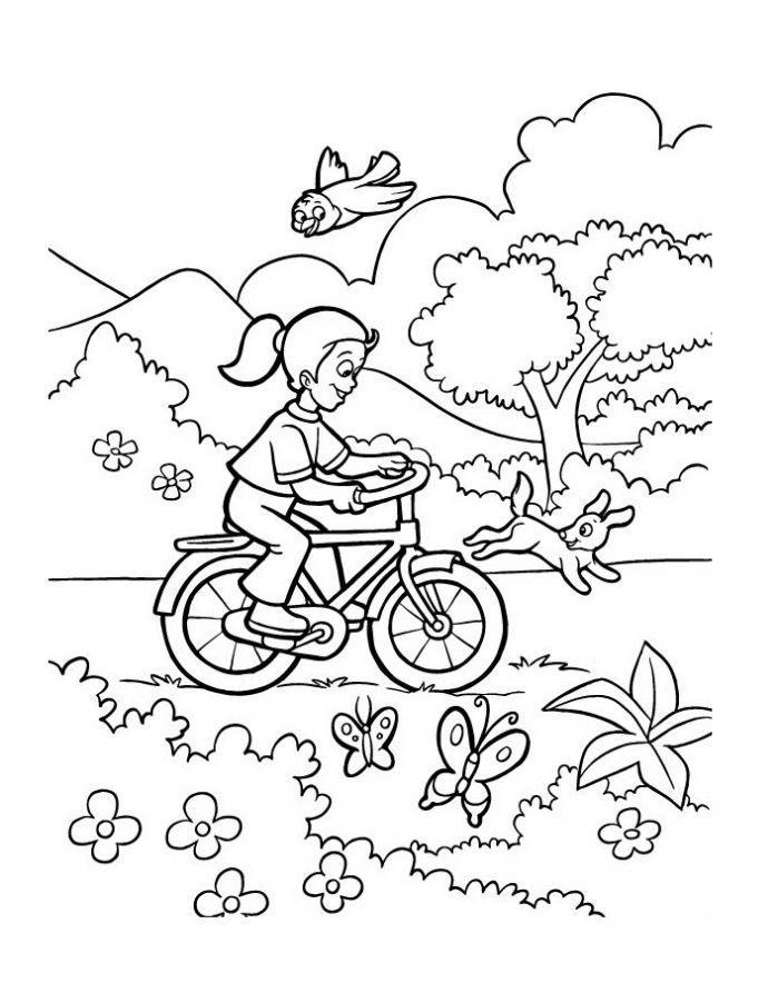 раскраска на даче летом девочка катается на велосипеде