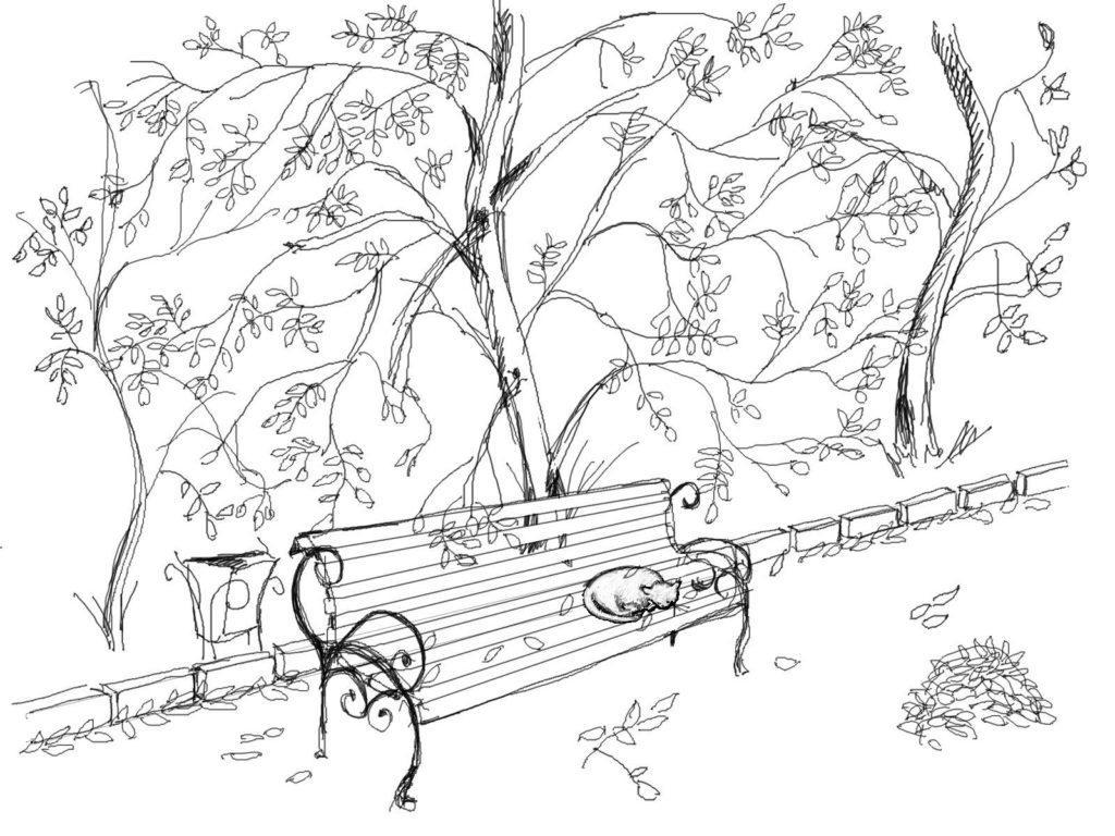 раскраска осень в парке листья опадают распечатать
