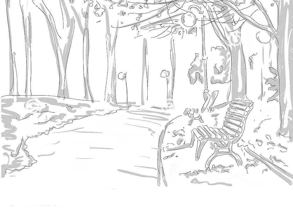 раскраска осень в парке распечатать