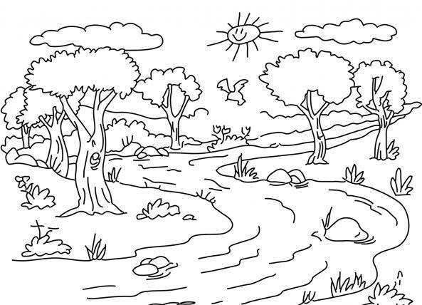раскраска природа летом