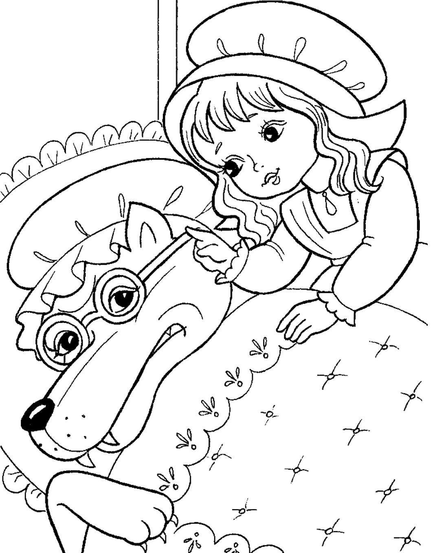 раскраска сказки красная шапочка для детей распечатать