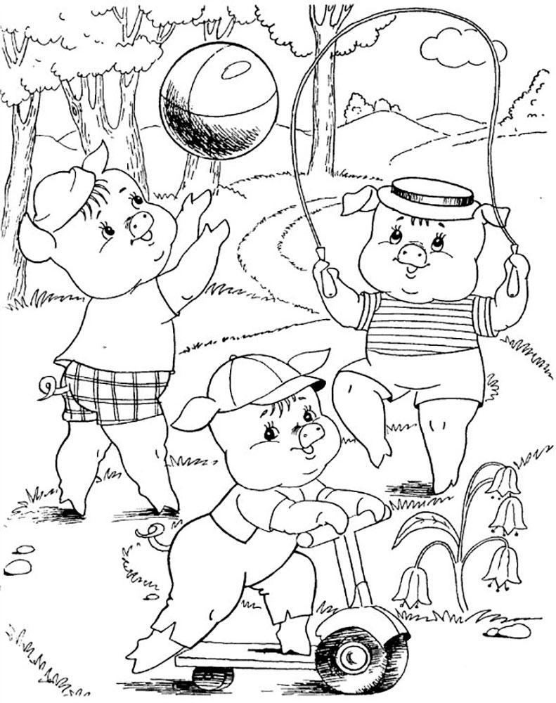 раскраска три поросенка из сказки для детей распечатать бесплатно