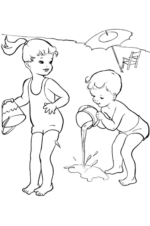 раскраска время года лето игры на пляже распечатать