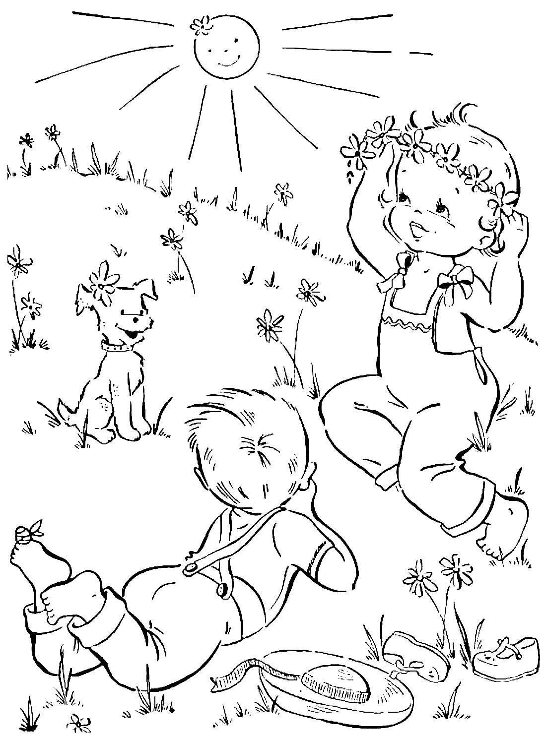 раскраски для детей лето распечатать бесплатно