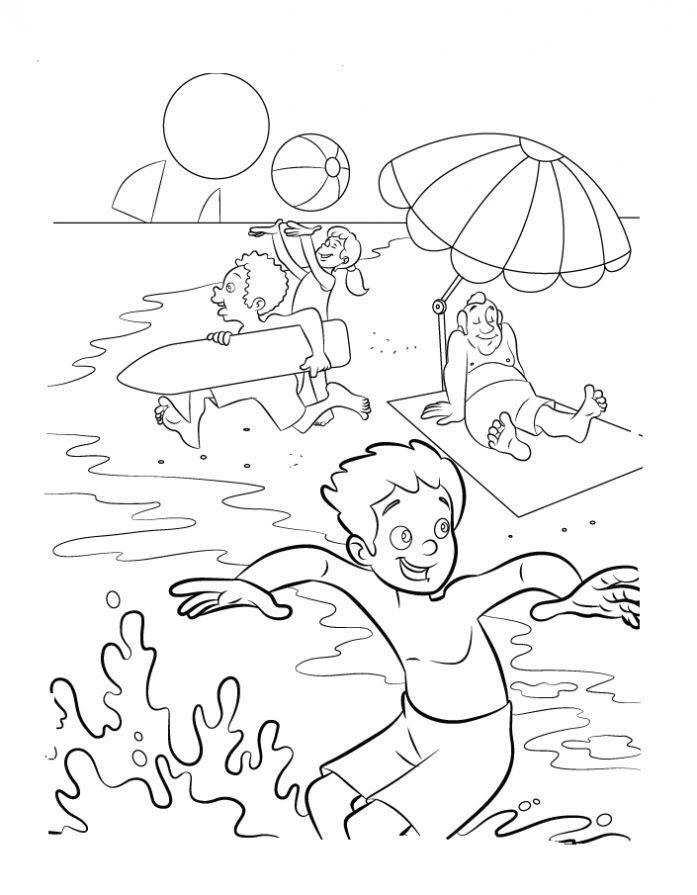 раскраски лето море распечатать