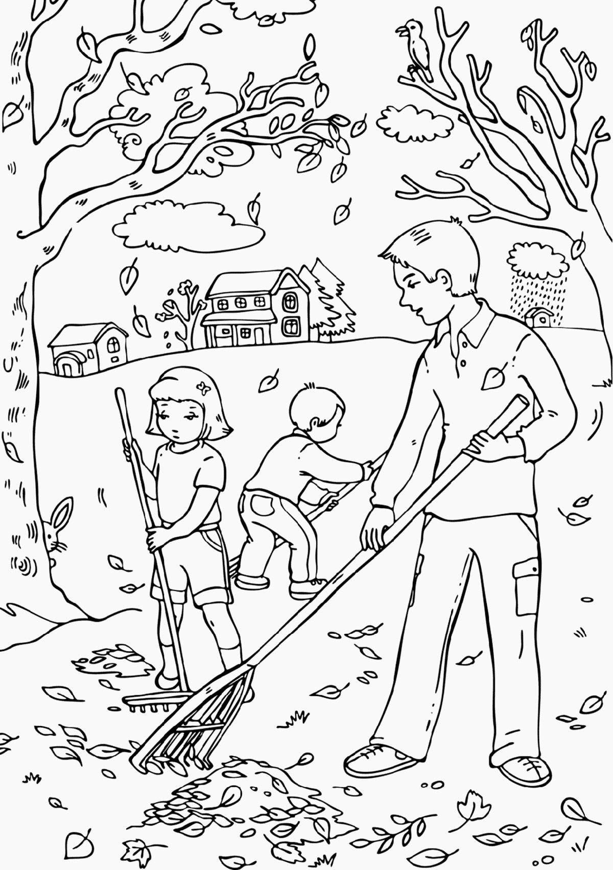 раскраски на тему осень золотая распечатать для детского сада