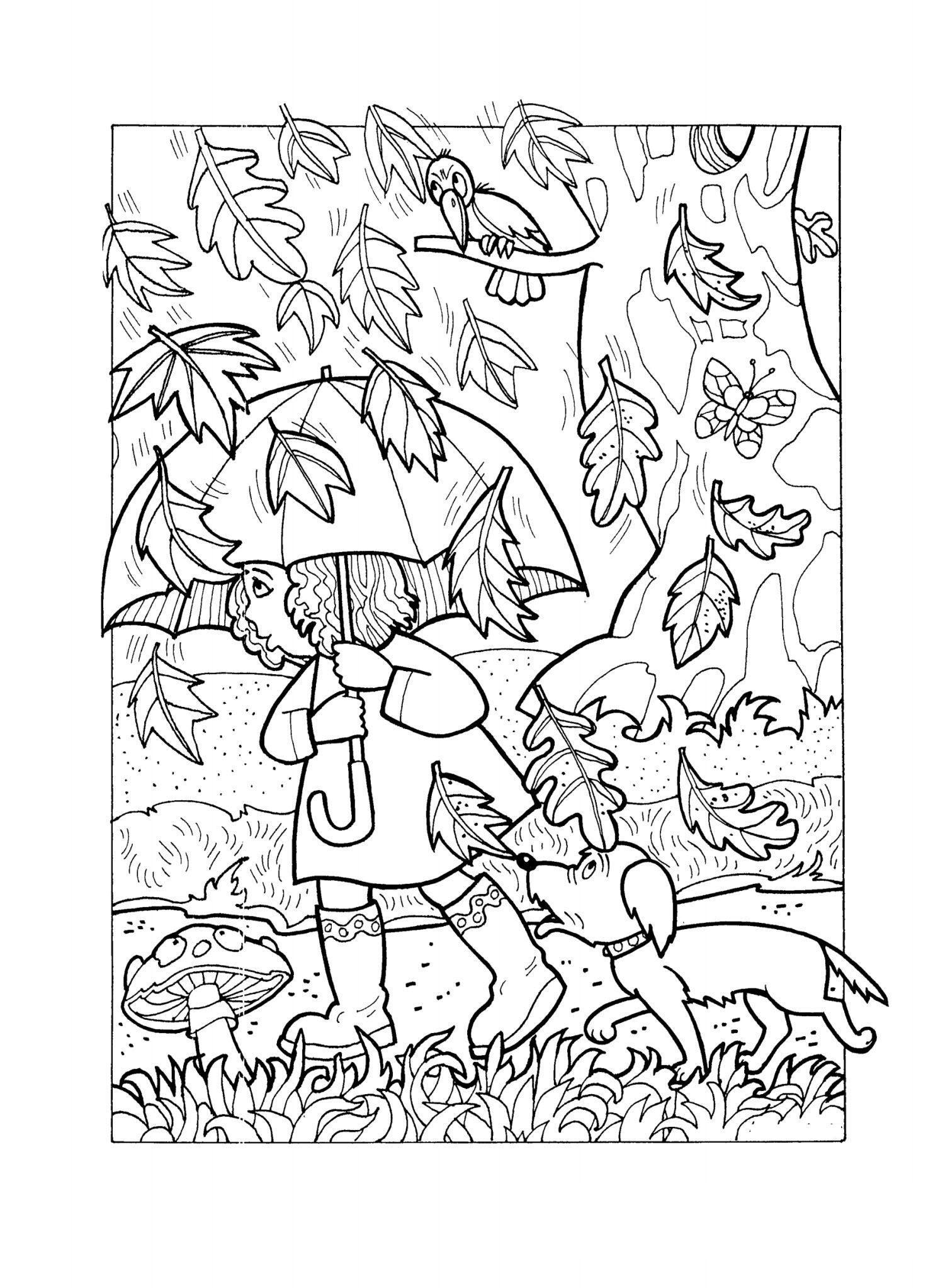 раскраски осени для детей распечатать