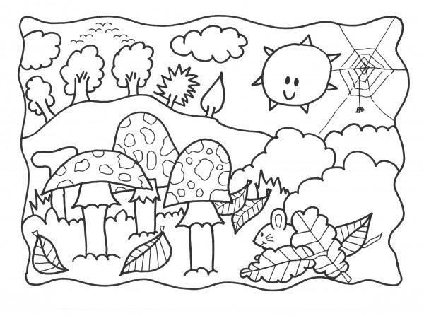 рисунок осень раскраска для детей распечатать