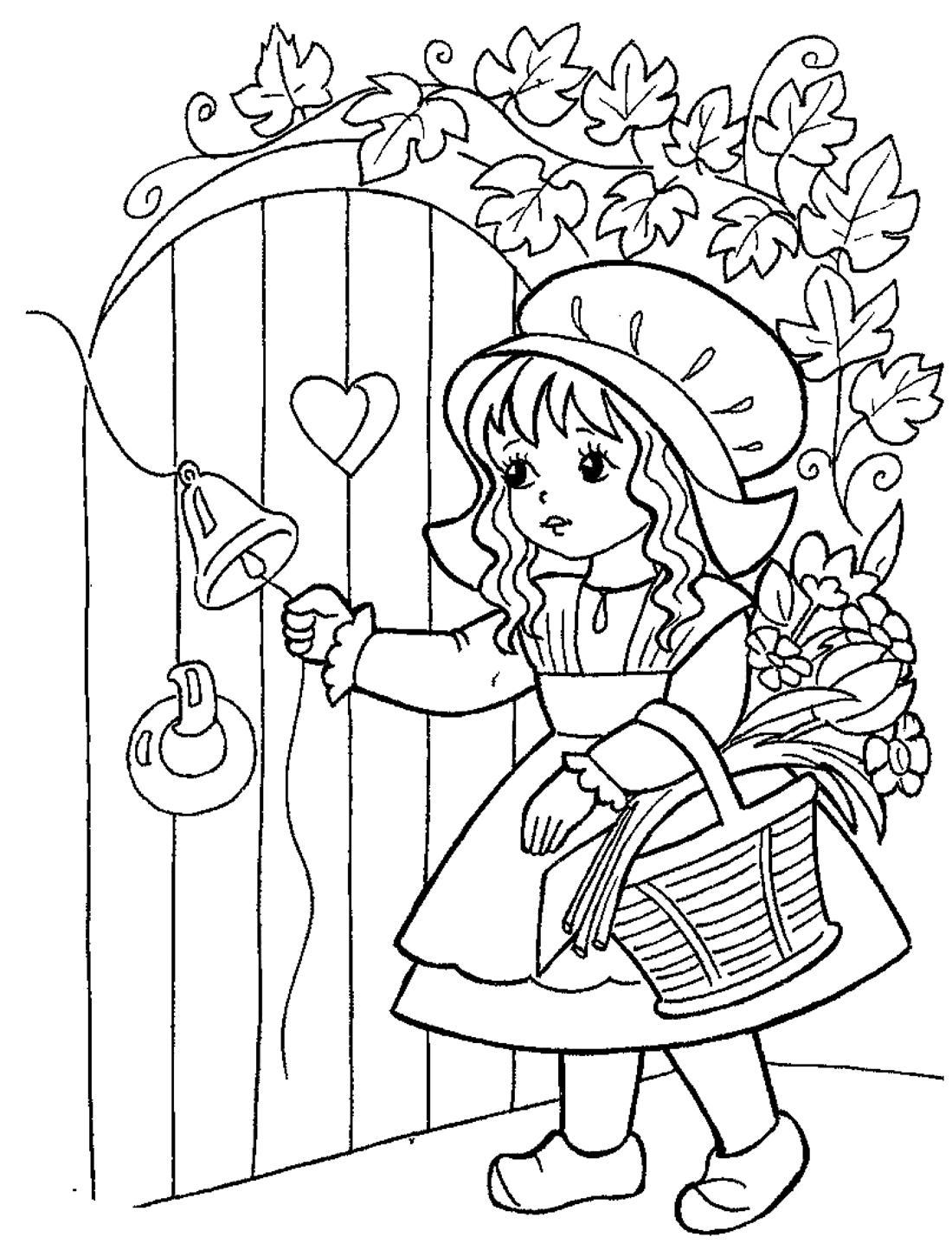 Раскраска Красная шапочка из сказки Шарля Перро