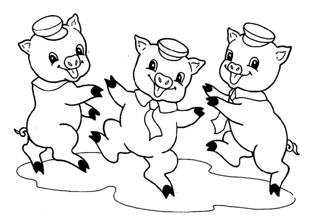 три поросенка раскраска для малышей