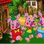 раскраска три поросенка из сказки для детей распечатать скачать бесплатно