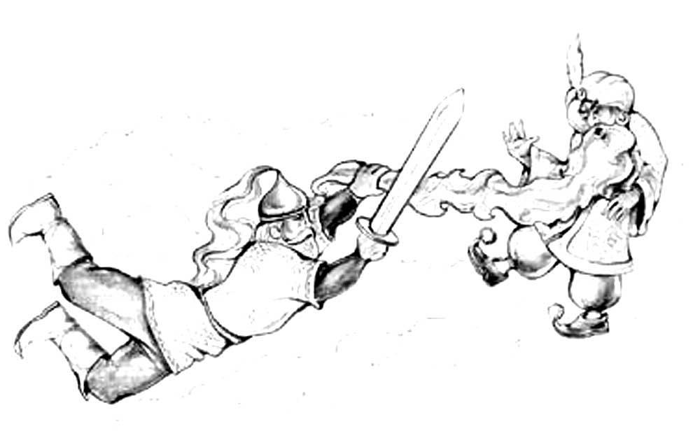 Картинка черномора из сказки руслан и людмила карандашом поэтапно