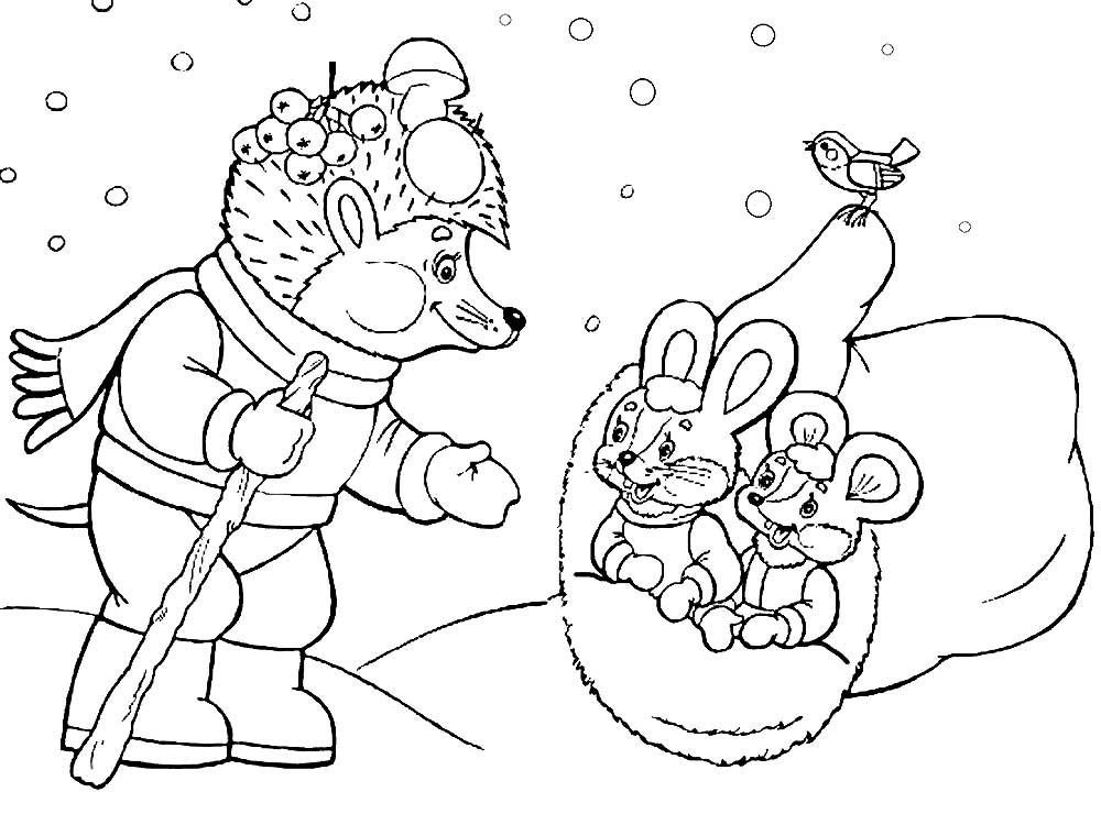 раскраски для детей героев по сказке рукавичка распечатать