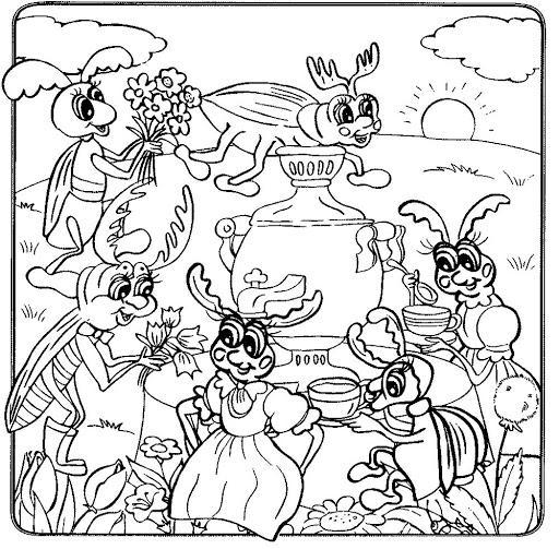 муха цокотуха раскраска для детей 3 лет распечатать