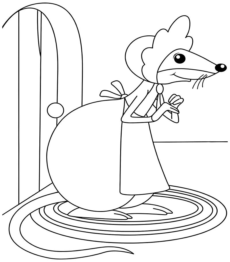 мышь из дюймовочки раскраска распечатать