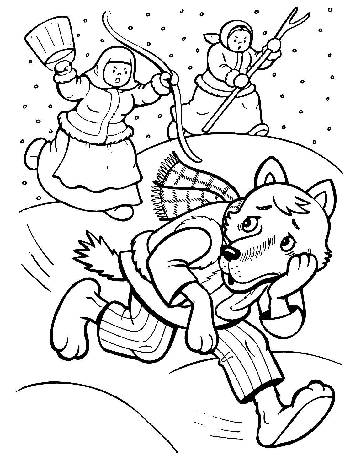 Раскраска к сказке Волк и лиса распечатать для детей бесплатно