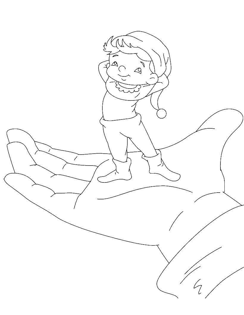 раскраска мальчик с пальчик распечатать